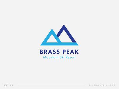 Daily Logo Challenge | 08. Brass Peak. Ski Mountain Logo 08 challenge daily peak ski symbol logo bp mountain
