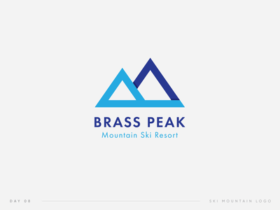 Daily Logo Challenge   08. Brass Peak. Ski Mountain Logo 08 challenge daily peak ski symbol logo bp mountain