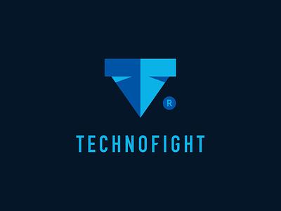 Technofight Logo robot shield symbol tf brand and identity blue for sale concept fight technology logo