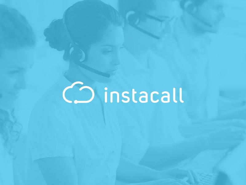 Instacall Logo company center centre call blue telephony cloud cloud logo information