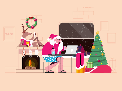 HO! HO! HO! Merry Christmas Folks :) illustration gift flat vector snow character christmas xmas santaclaus gif animation