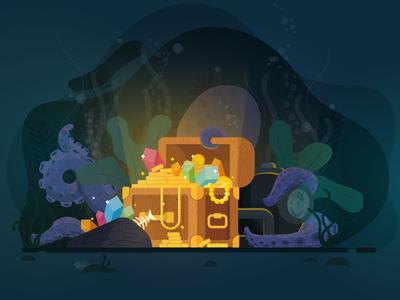 Treasure Hunt vector illustration hand drawn graphic design flat drawing design color blue art animal treasure