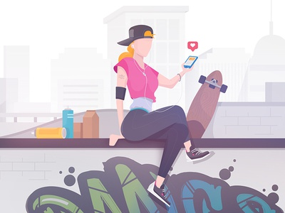 Zoning out from the world illustrator illustration music flat sketch vector drawing design concept mobile character art