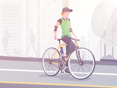 What better way to get the morning pump art character bike concept design drawing vector sketch flat music illustration illustrator