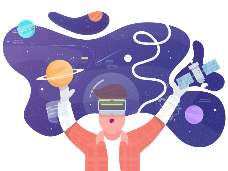 Exploring Virtual Reality planet character concept design vector space flat illustration illustrator vr