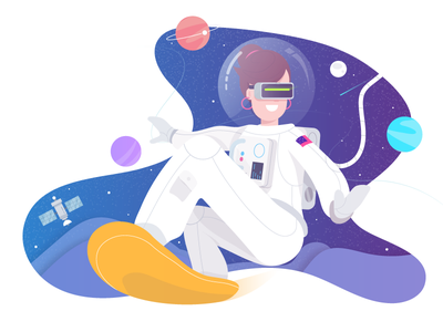 Jump, Hop, Skip in Virtual Space board planet character concept design vector space flat illustration illustrator vr stars