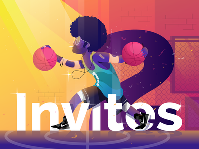 2x Dribbble Invites design illustrator afro vector illustration gradient invites invite giveaway draft player character debut invite dribbble