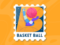 36 Days of type - B letter b 36days-b flat stamp basketball vector illuatration 36 days of type lettering 36 days of type