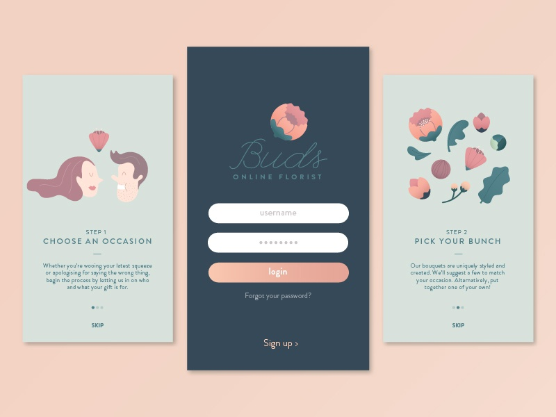 Mobile Onboarding Screens walk-through app mobile ui florist isoflow onboarding illustration