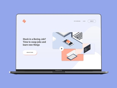 Swopp.me Onboarding login form logout sign in login swap job ipad phone logo work desk type flat web branding ux design gradient office isometric illustration