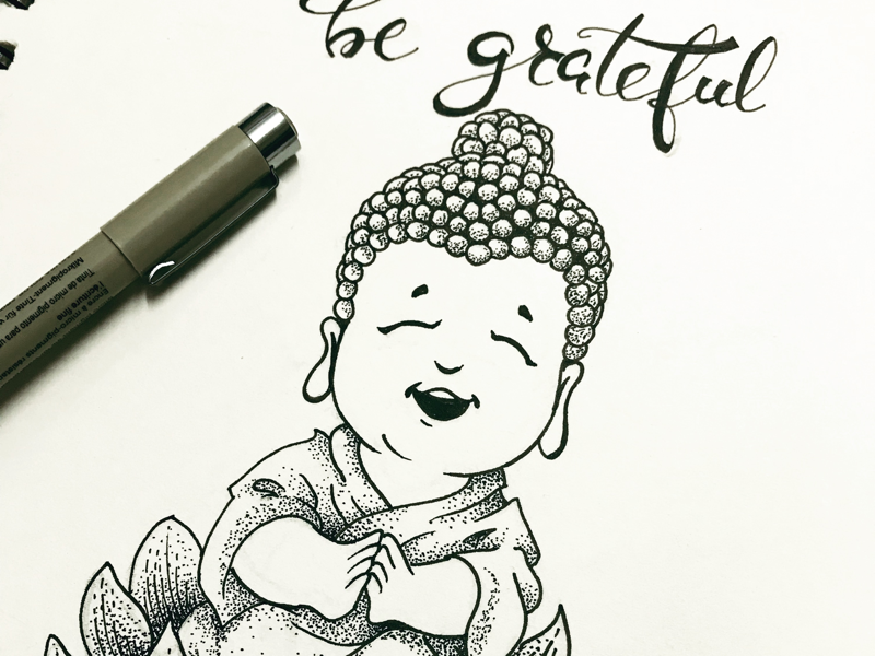 Little Buddha doodle doodle happiness grateful little buddha