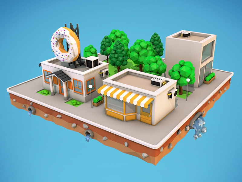 Low Poly City Block Download 3d Model by ARgentics on Dribbble