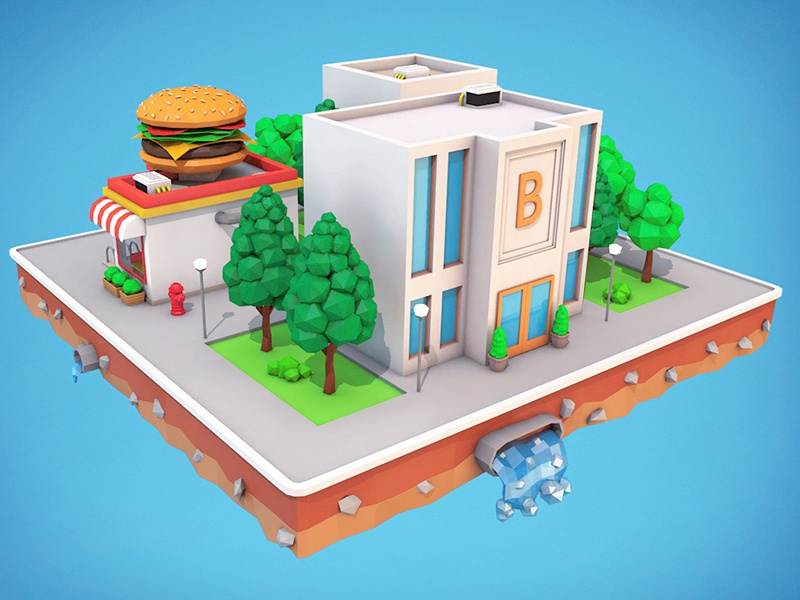 Low Poly City Block Bank Download 3D Model by ARgentics on Dribbble