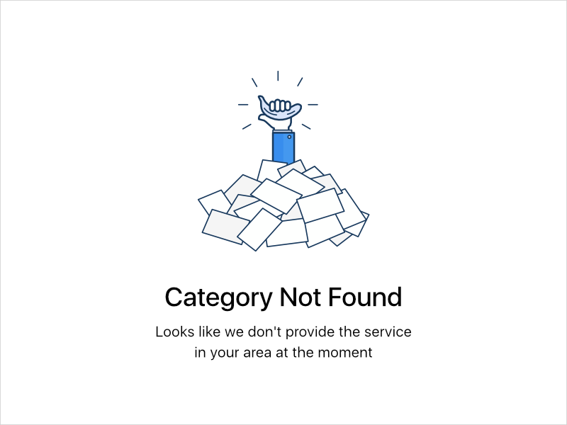 Category Not Found error unavailable app illustration empty state character design line art ui