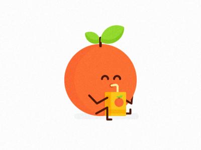 Cannibal Orange fruit funny drink icon minimal design clean vector orange illustration flat
