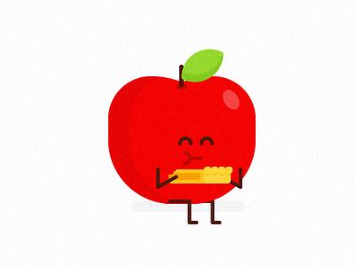Cannibal Apple red pie apple fruit icon minimal design clean vector illustration flat