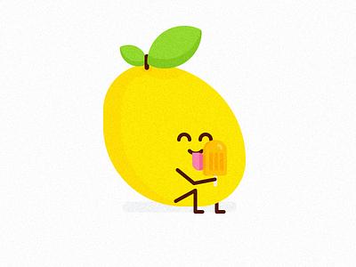 Cannibal Mango funny ice cream sticker yellow mango icon minimal design clean vector illustration flat