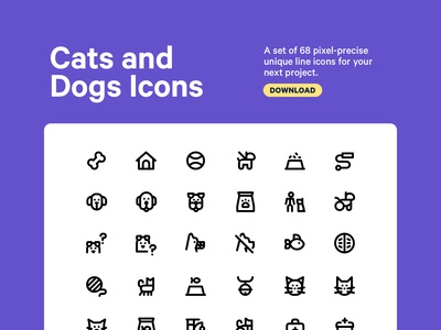 Cats and Dogs Icon Set