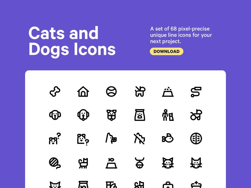 Cats and Dogs Icon Set cat dog pet logo graphic design branding line art character design app ui minimal clean vector design icon illustration