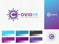 Covid19 Stay Home Save Lives who physical distancing social distancing dirumahaja hospital medical logo color purple gradient blue purple blue purple logo virus logo c logo covid19 logo corona logo coronavirus corona logo covid19