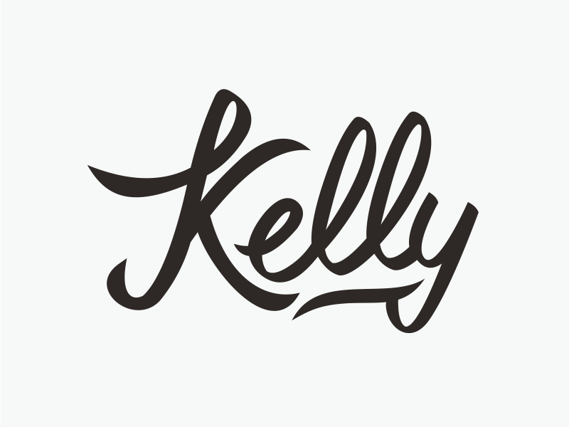 Kelly calligraphic type hand drawing lettering calligraphy