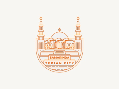 This is my hometown, Samarinda Tepian City jordi mark icon mascot islamic masjid dolphin pesut east borneo borneo indonesia city town sticker illustration emblem homepage design logo hometown
