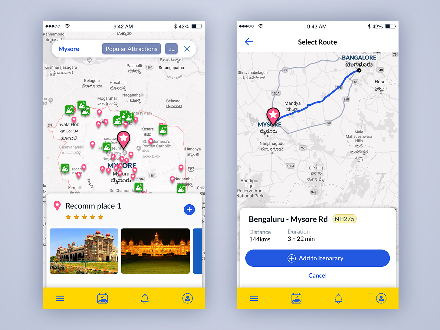 Road trip app bangalore app mobile interaction search ui ui ux travel app roadtrip