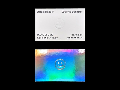 2018 Identity smile logo iridescent emboss foil holography print typography type design