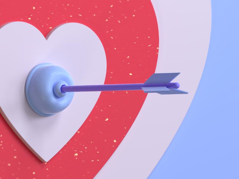 Love Struck octane cinema4d 3d design design illustration pastel candy cute heart valentine plunger bow arrow cupid love