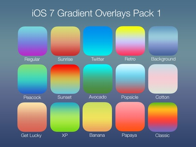 iOS 7 Gradient Overlays Pack 1