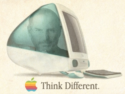Steve Jobs |  Think Different steve jobs |  think different apple computer 2011 1955 rip rest in peace retro imac g3 jonathan blue green orange purple ive yellow