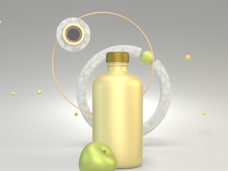 3d illustration of the bottle and apple design logo webdesign branding brand identity branding design illustration 3d illustration 3d art 3d
