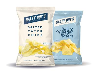 Salty Boy's Tater Chips lancaster potato chips potato packaging design packaging logo photography graphic design design
