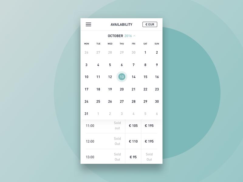 Blue Lagoon minimalistic clean simplicity web packageview calendar kolibri booking blue lagoon