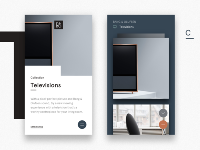 B O Televisions Systems X1 simple product navigation minimalistic design clean bo bang olufsen app