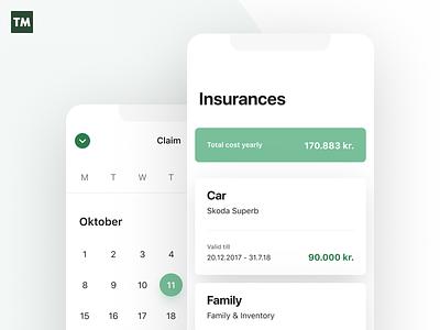 TM Overview mobile app simplistic minimal icons typography minimalistic design tryggingamiðstöðin insurance