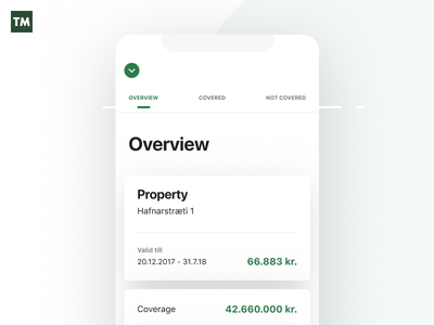 TM details mobile app simplistic minimal icons typography minimalistic design insurance tryggingamiðstöðin