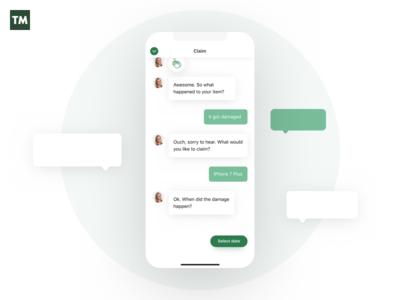 TM Chat bot chat insurance tryggingamiðstöðin design minimalistic typography icons minimal simplistic app mobile