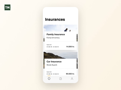 Expand Insurance Card clean navigation mobile product design minimalistic animation interactiondesign interaction ios insurance app app tm insurance