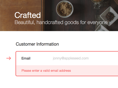 New Error State responsive checkout ecommerce shopify checkout field error