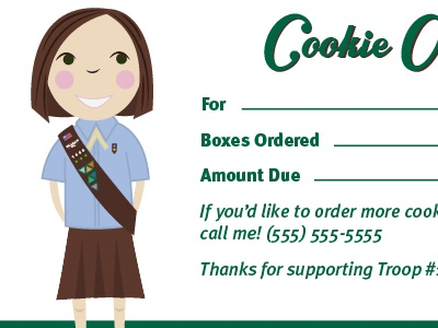 Girl Scout Cookie Order Receipt cookie girl cute brownie girl scout receipt lisa m. dalton illustration happy