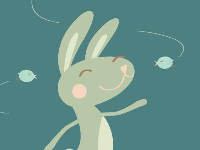 Spring Bunny spring cute happy bunny birds illustration hand lettering character design lisa m dalton graphic design