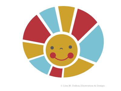 Sunshine illustration sunshine happy cute primary colors lisa m. dalton graphic design wip