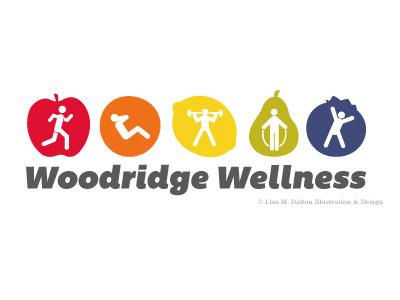 Woodridge Wellness Logo logo logotype lisa m. dalton illustration design fruit exercise fitness health wellbeing healthy