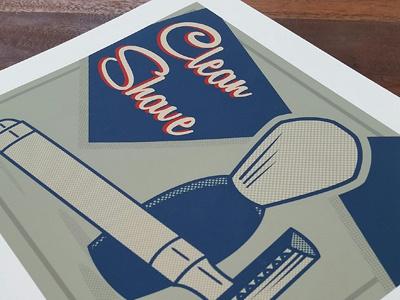 Clean Shave Poster poster retro halftone safety razor lisa m. dalton illustration design shaving clean shave