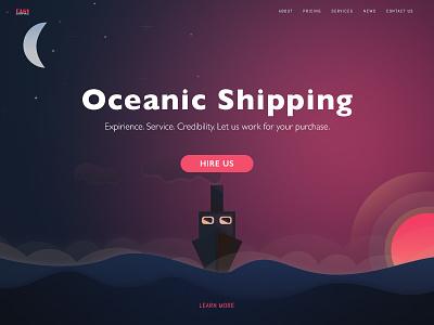 Dreamer's ship ux ui landing sunrise website color gradient sketch illustration flat shipping