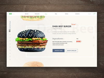 Wanna grab a burger? food design product card website flat delicious menu burger sketch