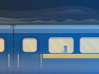 Railroad cat railway flat ukraine sketch night train illustration cat