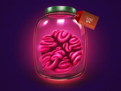 Hello, Dribbble! thank you gift tag mason jar vintage sci-fi brain glow hello dribbble first shot illustration