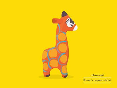 Giraffe : Evolution of Burmese's papier mâché poster illustration flat toy papiermache traditional burmese animal giraffe